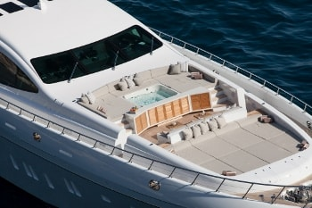 2014 164' Moonraker yacht bow with seating and jacuzzi