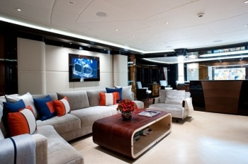 196' Excellence V yacht salon sofas