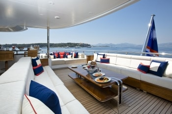 196' Excellence V yacht spacious deck seating